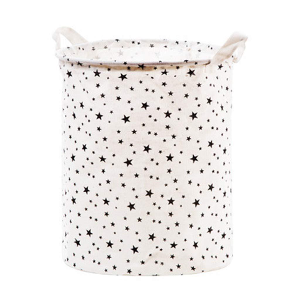 "Star Dot Storage Bin, JUNMAO Round Canvas Cotton Linen Ramie Fabric Storage Basket Toy Box Organizer Nursery Hamper Laundry Basket with Handles, Collapsible/Waterproof (D, 14""x16'')"