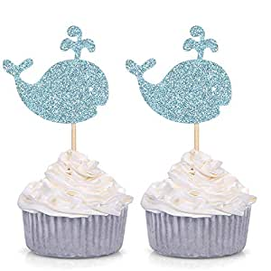 24 Blue Glitter Whale Cupcake Toppers Baby Shower Birthday Party Sea Creature Decorations