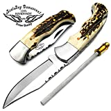 Stag Horn 6.5 Hand made Stainless Steel Folding Pocket Knife Sliver Bloster with Sharpening Rod Back Lock 100% Prime Quality Limited Edition