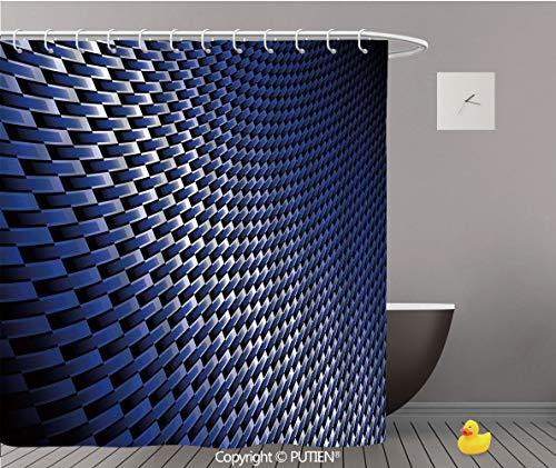 (PUTIEN Upscale Shower Curtain [ Dark Blue,Curvy Carbon Fiber Texture Image Abstract Industrial Modern Grid,Dark Blue Royal Blue White ] Polyester Bathroom Accessories Home Decoration,48