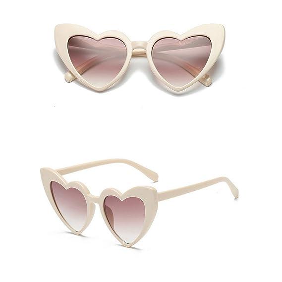 Worsworthy Gafas de Sol de Melocotón En Forma de Corazón de Dama Las Mujeres de Moda Retro En Forma de Corazón Tonos Gafas de Sol Gafas UV Integradas ...