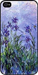 Claude Monet's Lavender Irises- Case for the Apple Iphone 5-5s Universal- Hard Black Plastic Snap On Case by mcsharks