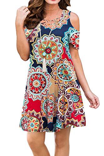 BLUETIME Women Cold Shoulder Criss Cross Neckline Short Sleeve Casual Tunic Top Dress (XL, Floral1)