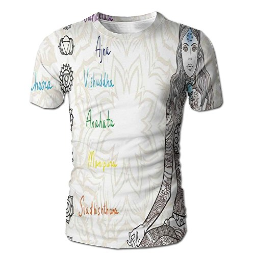 Edgar John Sketch Image of Yoga Posed Girl in Peace with Spots Ancient Relax Ritual Decor Men's Short Sleeve Tshirt S