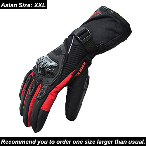 KEMIMOTO Motorcycle Riding Gloves Waterproof Windproof Winter Warm Touchscreen Gloves (XX-Large,Red)