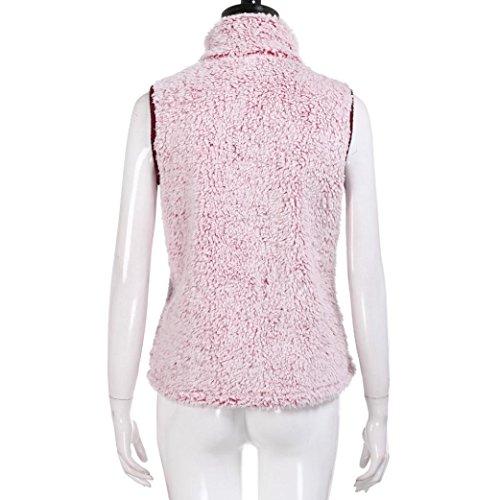 Manches Chaud Couleur Femme Manteaux Outwear Gilet Unie Zipper Hiver Manche Manteau Mode Sans Doux Veste SOMESUN Sans Rose Parka Dcontracte Flanelle Confortable xR0wvnqS