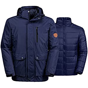 Wantdo Men's Winter Ski Jacket Water Resistant 3-In-1 Jacket Puff Liner