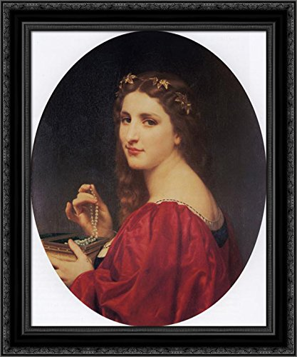 Le collier de perles 20x23 Black Ornate Wood Framed Canvas Art by Bouguereau, William Adolphe