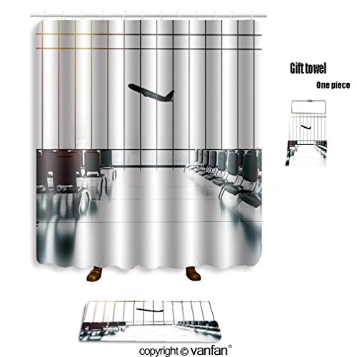 vanfan bath sets with Polyester rugs and shower curtain futuristic airport and big airliner in window shower curtains sets bathroom 36 x 72 inches&23.6 x 15.7 inches(Free 1 towel and - Denver Airport Shape
