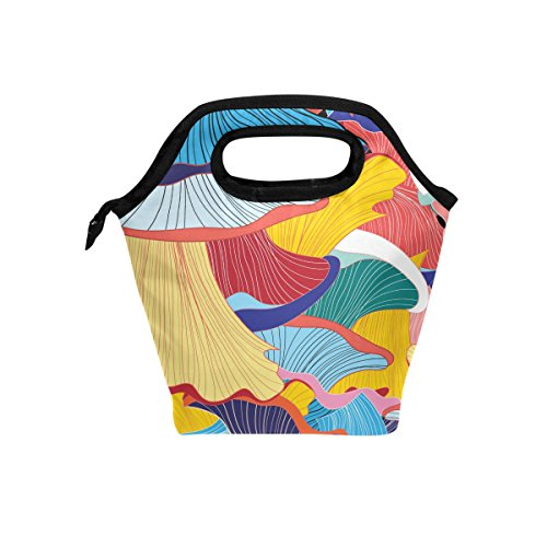 FORMRS Lunch Bag Cooler Lunch Organizer Colorful Scallop Tote Insulated Outdoor Travel Picnic School Work Lunch Handbags for Women Girls Adults