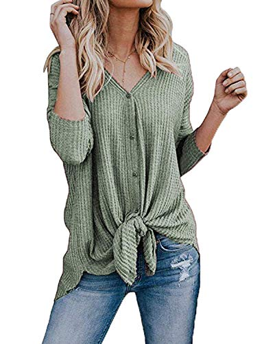 Baggy Cardigan Verde Aranmei Lunghe Casual Maglioni Maniche Jumper Pullover V Neck Eleganti Donna zCPz7Owq