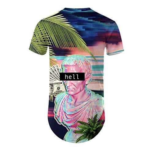 Men's New Summer Collar Short Sleeve 3D Coloured Figure Top