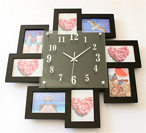 Modern Simple Wall Clock With Photo Frame Frame Mute Quartz Clock for Living Room Bedroom Decoration , black