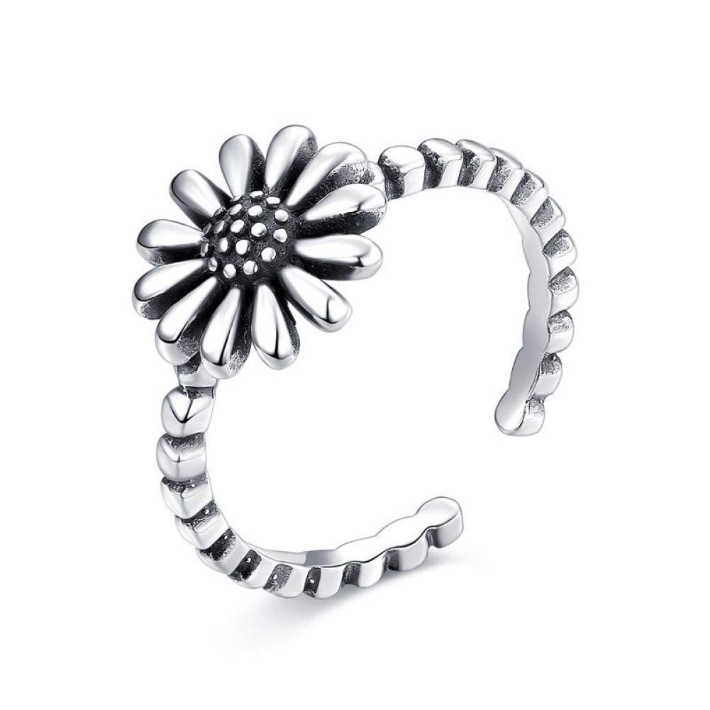 HCBYJ Lady ring 925 Sterling Silver Daisy Opening Adjustable Ring Flower Shaped Wedding Ring Ladies