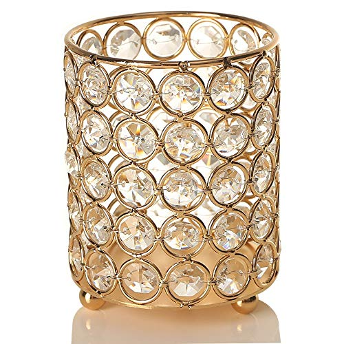VINCIGANT Gold Cylinder Crystal Tea Light Candle Holders Centerpieces/Decorative Candle Lantern with String Light for Valentines Day Wedding Home Decoration -