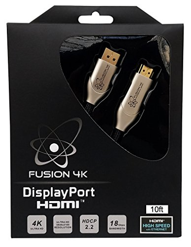 Price comparison product image Fusion4K High Speed 4K DisplayPort to HDMI Cable 2.0 - Professional Series Ultra HD (10 Feet)