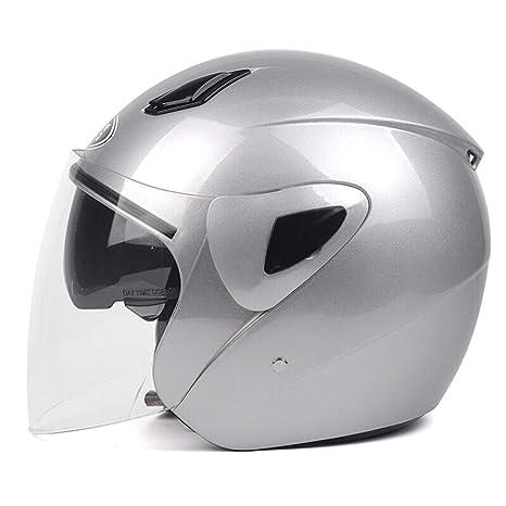 Amazon.es: Hombres Mujeres Retro Half Face Casco de Moto, Antifogging Transparente Lente Doble Casco de Motocicleta, Cascos de Motocross de Seguridad para ...