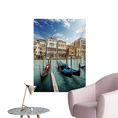 Anzhutwelve Italian Photo Wall Paper Gondolas in The Venetian Adriatic Lagoon Historical Venezia PhotoBlue Sand Brown Almond Green W20 xL28 Art Poster ()