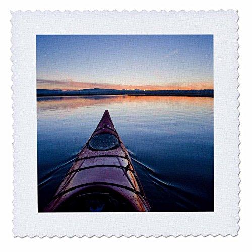 3dRose qs_95680_4 Washington. Kayak at Sunrise Into Skagit Bay-US48 GLU0210-Gary Luhm-Quilt Square, 12 by 12-Inch