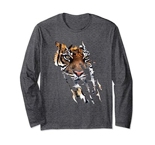 Unisex Bengal Tiger Face long sleeve t-shirt Tiger paw print XL: Dark Heather