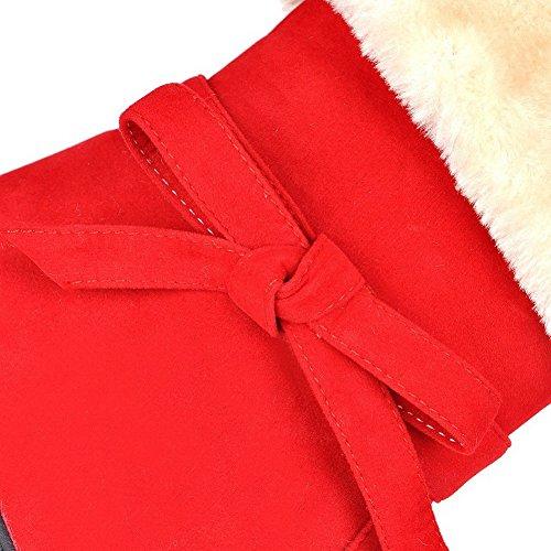 AllhqFashion Mujeres Caña Baja Sólido Sin cordones Puntera Redonda Mini Tacón Botas con Lazos Rojo