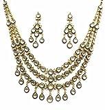 Jewelshingar Jewellery Antique Gold Plated Polki Kundan Necklace Set For Girls ( 17205-acs-blue )
