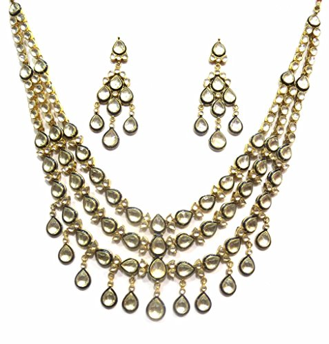 Jewelshingar Jewellery Antique Gold Plated Polki Kundan Necklace Set For Girls ( 17205-acs-blue ) by Jewelshingar
