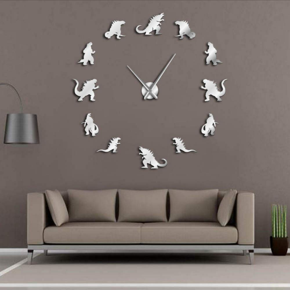 Djkaa Monster Home Decor DIY Reloj De Pared Grande Diseño Moderno Sin Marco Reloj De Pared Gigante Kid Room Arte De Pared Decorativa(37 Inch): Amazon.es: ...