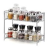 LIANTRAL 2-Tier Spice Rack Kitchen Bathroom Standing Storage Organizer Spice Shelf Holder Rack (LT-DB046A) (Silver)