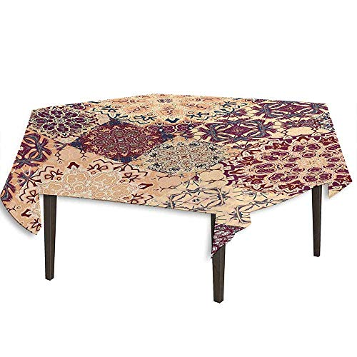 (DouglasHill Vintage Detachable Washable Tablecloth Antique Traditional Ceramic Tiles Ornamental Moroccan Arabesque Image Print Great for Parties Festivals etc. W36.2 x L36.4 Inch Dried Rose Ivory)