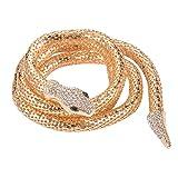 Lux Accessories Gold Tone Rhinestone Stretch Wrap Bangle Retro Snake Bracelet