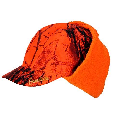 Gamehide Fleece Lined Waterproof Deer Hunting Hat with Drop Down Ear Flaps (Orange Camo, X-Large)