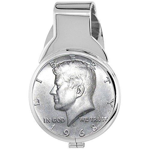 - Sterling Silver Kennedy Half Dollar Money Clip Spring Back Silver Clad Coin 1965-1970