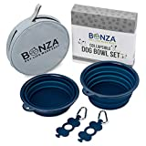 """Bonza Large Collapsible Dog Bowls, Twin Pak 5 Cup, 7"""" Diameter, Portable Dog Water Bowls for Medium to Large Pets, Lightweight, Sturdy Food Safe Premium Quality Travel Pet Bowl Solution"""