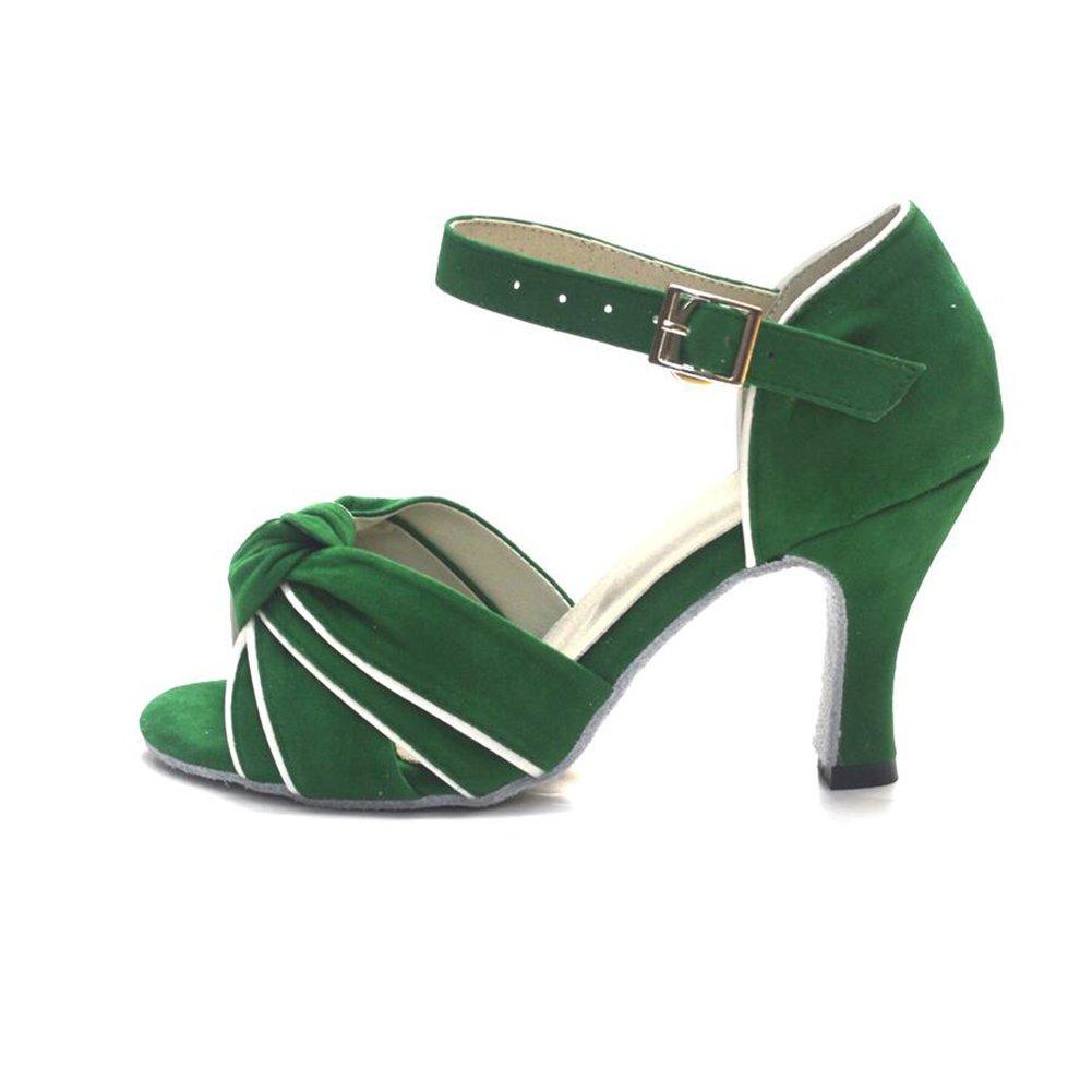 XUE Damen Latein Schuhe/Ballroom Schuhe Satin Sandale Party Indoor Schnalle Ferse Tanzschuhe Party Sandale & Abendgrün (Farbe : Ein, Größe : 36) 6b65be