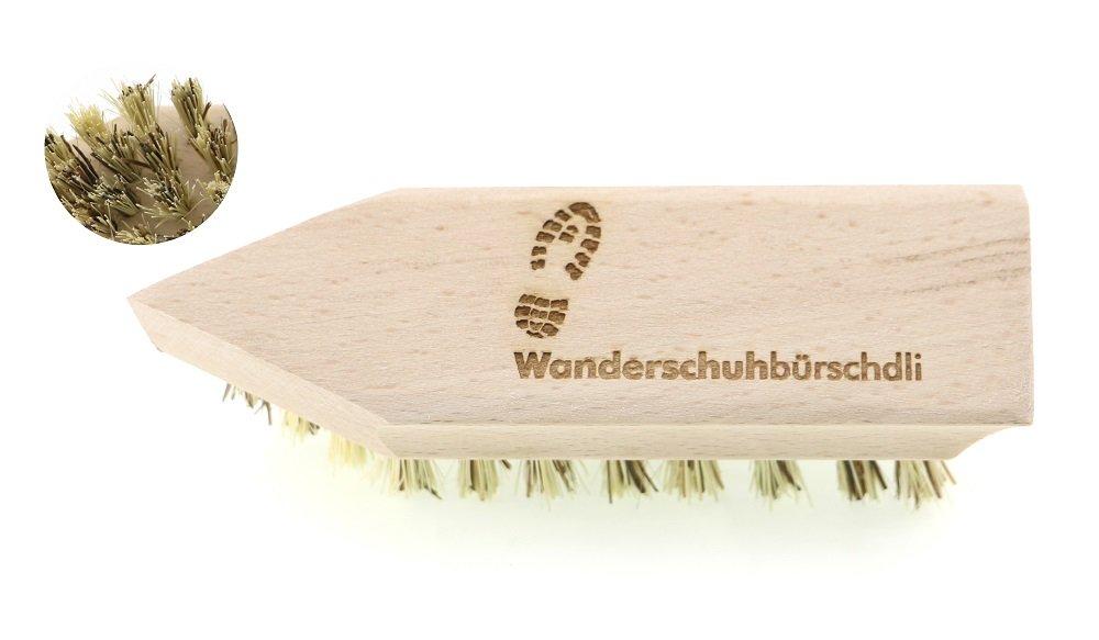 Schuhputzbürste - Wanderschuhbürschdli für grobe Verschmutzungen mit robusten Naturfaser Borsten, Körper aus Buchenholz idealer Griffform zum scheuern und schruppen, L: 14cm, hergestellt in Deutschland Kulturgutshop