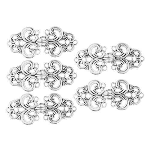 (IEFIEL 5 Pairs Filigree Flower Closure Buttons Fasteners Clasp Sew on Clip for Cardigan Cape or Cloak Silver One Size)