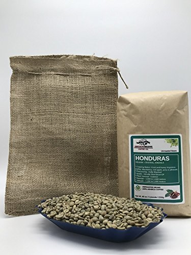 5 LBS – HONDURAS SAN ANTONIO (includes a FREE BURLAP BAG) Specialty-Grade, CURRENT-CROP Green Unroasted Coffee Beans – 100% Organic, Arabica Shade-Grown, Hand-Picked, Process: Washed & Sundried