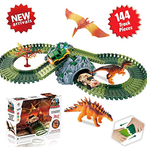 HOMOFY 恐竜玩具 レースカートラックセット ジュラシックワールド 144個入り 柔軟なトラック、3恐竜、2LED車、1ツリー、2イン1トンネル、2×3×4歳の女の子と男の子用 - スーパーファン恐竜玩具 HOMOFY90の商品画像