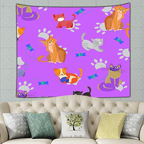 DWone Hat Cute Cats Kittens Pets Animals Tapestry Wall Hanging Tapestries Mysterious Wall Tapestry for Home Decor 50X60Inches
