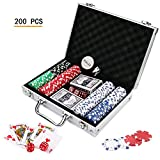 Doublefan Poker Chips Set, Heavy Duty 11.5 Gram Clay Poker Chips Set Texas Holdem Blackjack Gambling Chips Aluminum Case, Set of 200 Chips