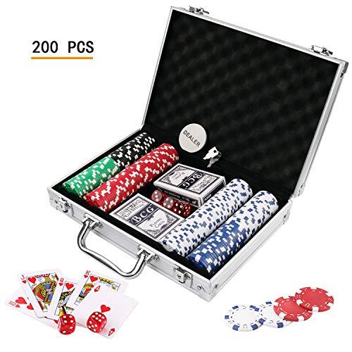 Doublefan Poker Chips Set, Heavy Duty 11.5 Gram Clay Poker Chips Set Texas Holdem Blackjack Gambling Chips Aluminum Case, Set of 200 Chips (Poker Chip Texas Holdem)