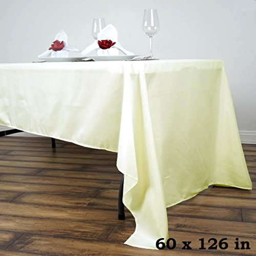 BalsaCircle 60x126-Inch Ivory Rectangle Polyester Tablecloth Table Cover Linens for Wedding Party Events Kitchen Dining