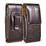 suily Cell Phone Belt Holster Waist Pouch, 5.5' Universal Vertical Leather Flip Cover Phone Belt Clip Case Magnetic Closure Pouch for iPhone 6/7/8 Plus Samsung Android Phones(Brown)