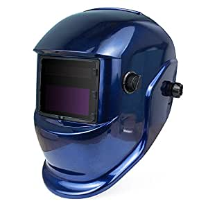 Solar Powered Welding Helmet - Tosense Auto Darkening Hood with Adjustable Shade Range 4/9-13 for Mig Tig Arc Welder Mask Blue