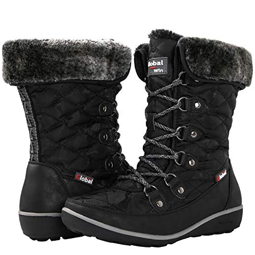 (GLOBALWIN Women's Black Winter Snow Boots 8.5M US)
