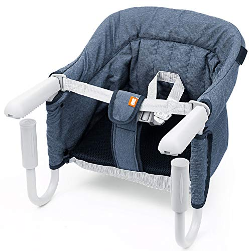 BeMAX Fast Hook On Table Chair, Fast Table Chair for Baby or Toddler, Attach to Table Without Leaving Scratches (Blue) ()