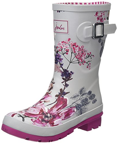 Harvest Pencil (Joules Women's Molly Welly Silver Harvest Floral Knee-High Rubber Rain Boot - 8M)
