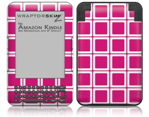 Squared Fushia Hot Pink - Decal Style Skin fits Amazon Kindle 3 Keyboard (with 6 inch display)