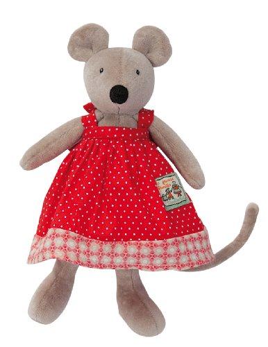 "Moulin Roty ""La Grande Famille"" Collection Plush Stuffed Animal - TINY Nini the Mouse, 8"""